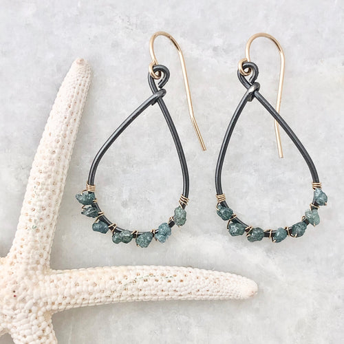 Kauai Blue Diamond Hoop Earrings ~ small