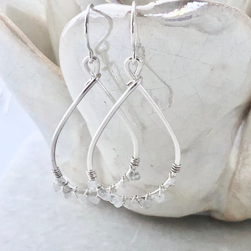 Silver Sands White Diamond Hoop Earrings ~ small