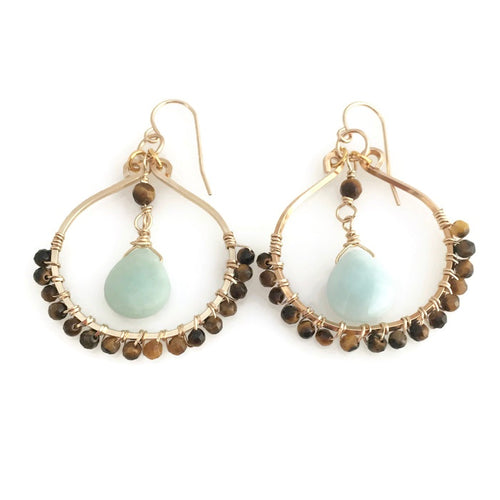 Amazonite & Tiger's Eye Hoop Earrings