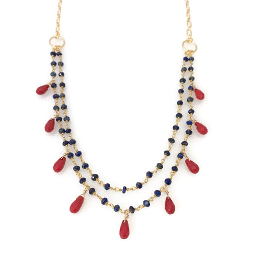 Jasmine Necklace ~ lapis & red coral