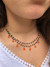 Jasmine Necklace ~ lapis & carnelian