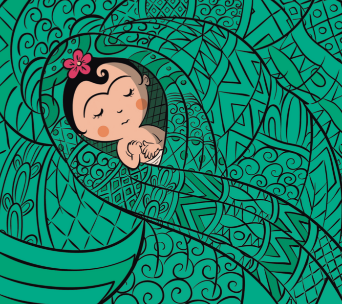 image of Frida Kahlo baby art surrounded by green