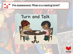Illustration of two people sitting together at a table, with the following discussion prompt: Pre-assessment: What is a reading level? Turn and talk