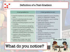 "Chart titled ""Definition of a Text Gradient"" explaining what a text gradient is and what it is not, with a prompt to turn and talk about what you noticed."