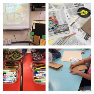 collage of four photos showing different objects of a classroom