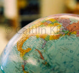 Close up photo of a classroom globe.