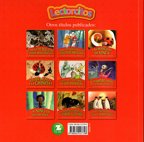 backcover of the book with nine photos of other books of the Lectorcitos series.