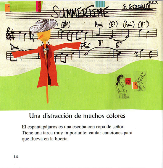 Inside page of the book depicting a scarecrow and a pentagram