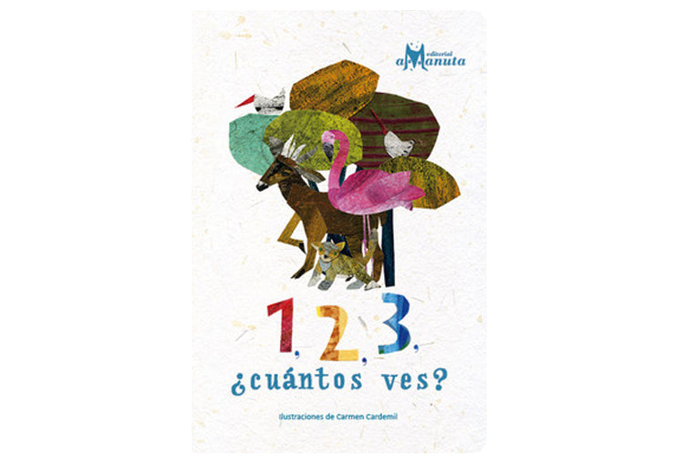 1, 2, 3 ¿cuántos ves? book cover  has some animals and numbers.