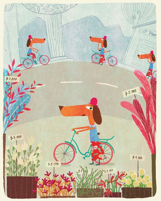 Illustration of several wiener dogs riding bicycles on the street.