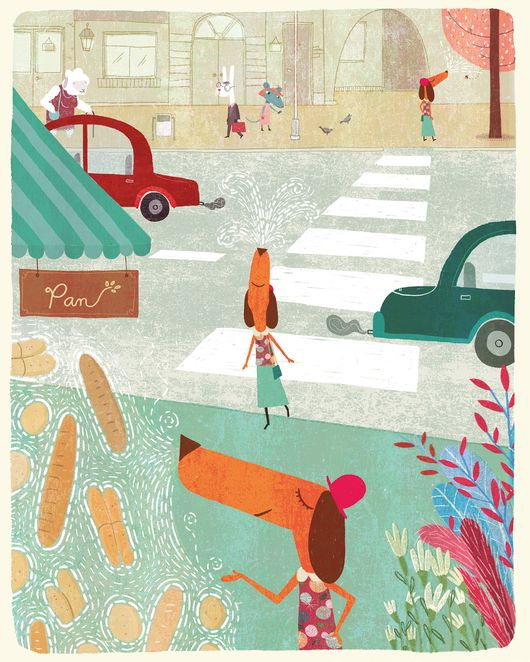 Illustration of a wiener dog buying bread near a street with cars