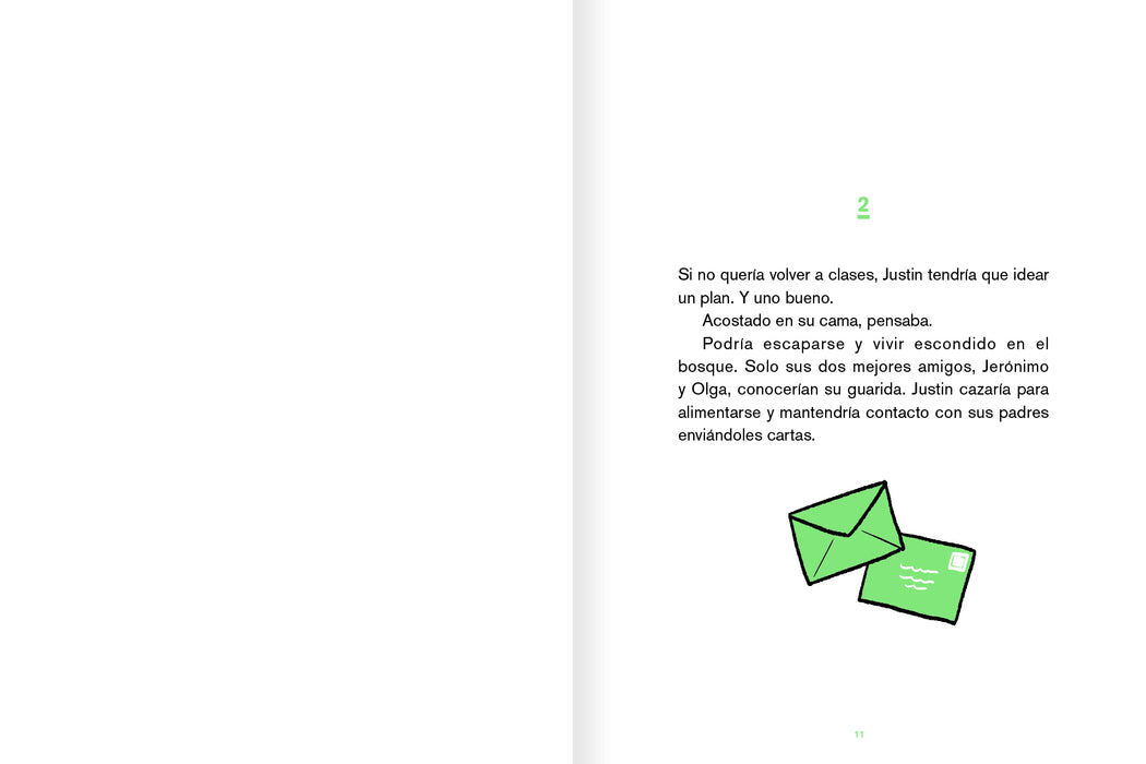 Inside page with a few paragraphs of text and an illustration of two green letters