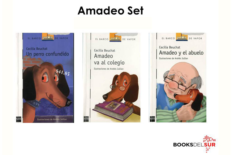 Image depicting the three covers of the books that are part of the Amadeo Set