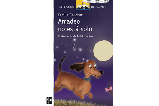Amadeo Book cover depicting the famous wiener dog running at night with a big moon behind him