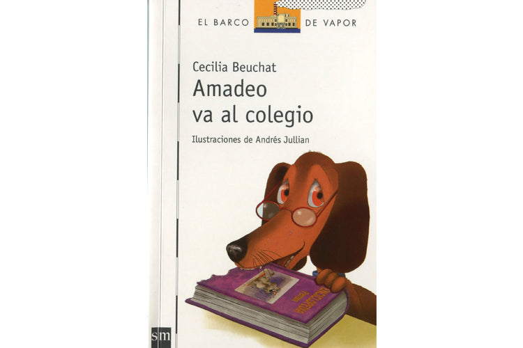book cover depicting Amadeo, a wiener dog, wearing reading glasses and bitting on a book.