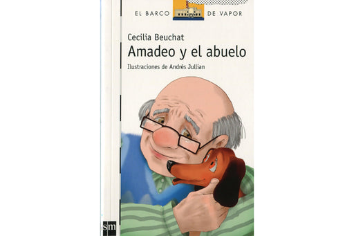 Book cover depicting Amadeo, a wiener dog, being held by the family's grandfather.