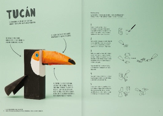 Inside page of the book depicting a home made Tucan with the instructions to assemble it