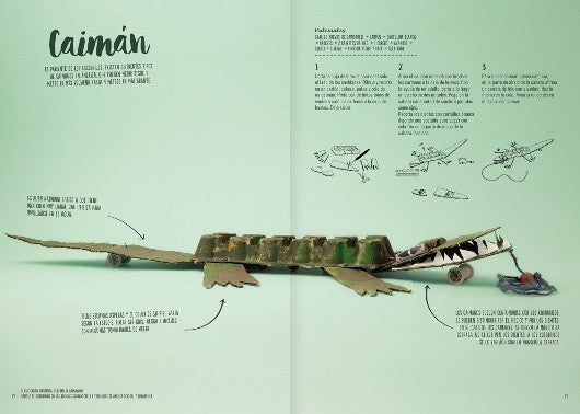 Inside page of the book depicting a home made crocodile with the instructions to assemble it