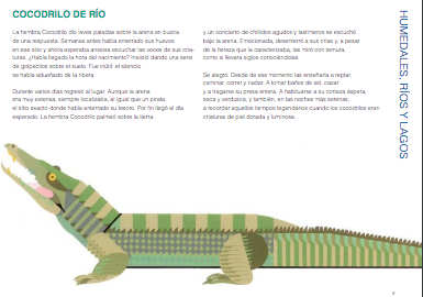 inside page example depicting text and a large illustration of a crocodile