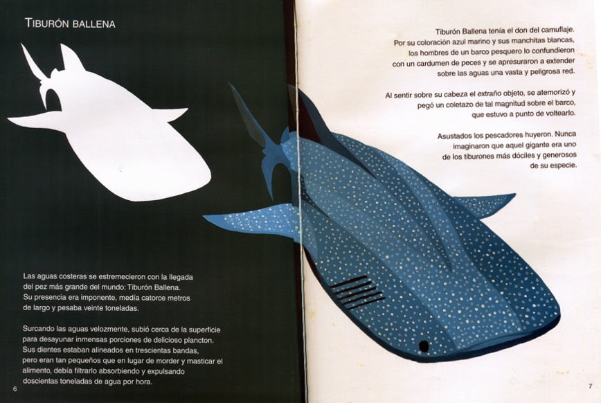 Inside pages of the book depicting an illustration of a whale shark