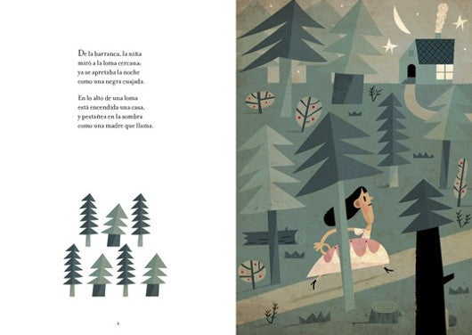 Inside page depicting an illustration of snow white in a forest