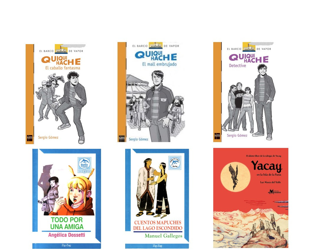 book set illustrates 6 book covers