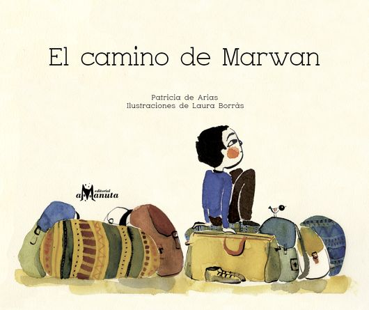 Book cover depicting an illustration of a kid sitting on top of a bunch of bags and suitcases