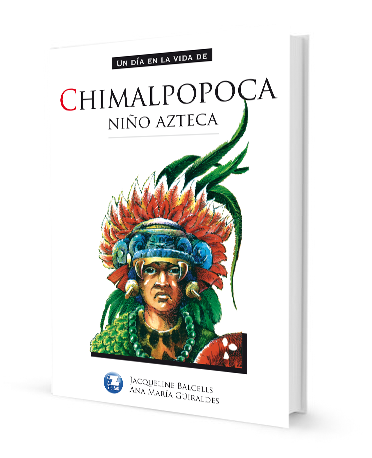 Book cover depicting an Aztec leader with a ceremonial mask