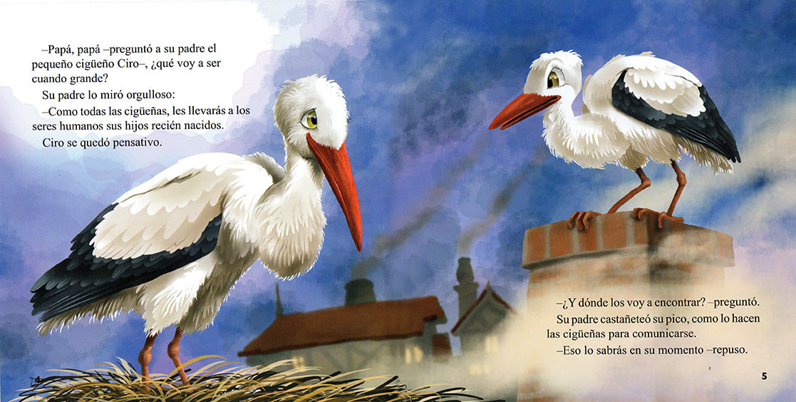 Illustration of two storks standing at the top of a chimney.