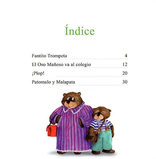 Index page of the book with an illustration of a mom and son bear dressed as humans