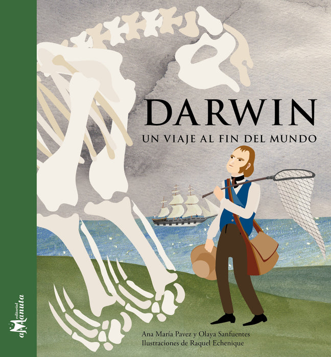 book cover illustrates Darwin with a fossil and boat in the background
