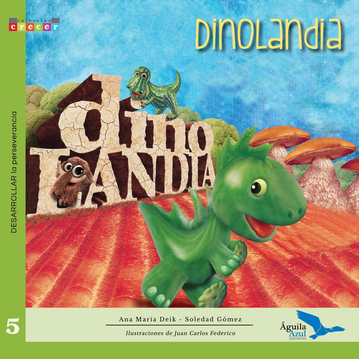 Book cover depicting an illustration of a green baby dinosaur