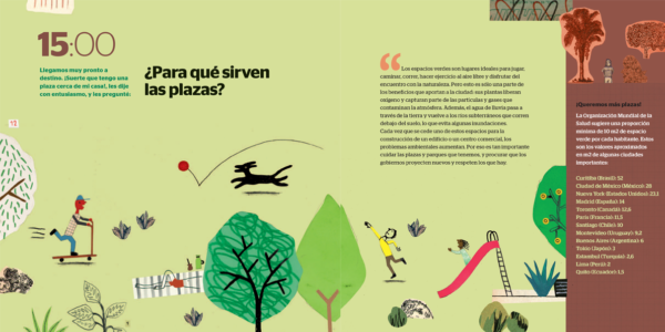 inside page shows a park illustration with kids, trees and a playground