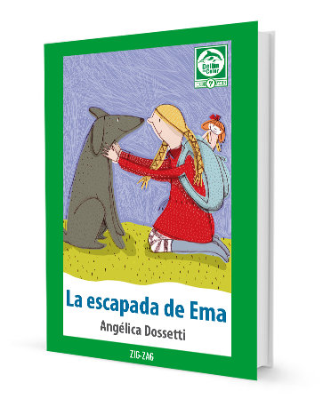 book cover shows a girl petting a dog