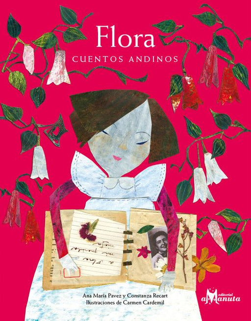 book cover shows a girl reading a scrapbook