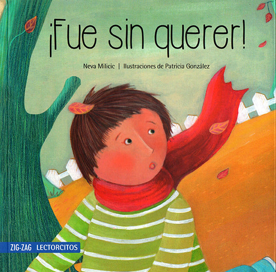 book cover illustrates a person with a red scarf in the fall