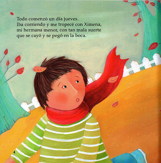 book page illustrates a child with a red scarf