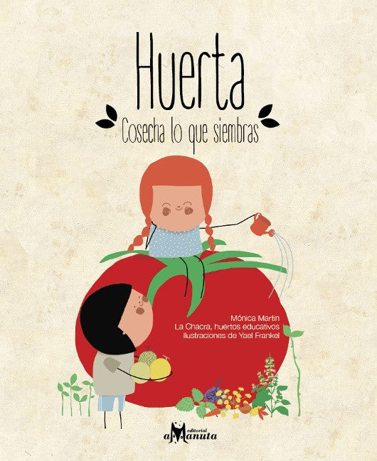 book cover illustrates a two children, one sitting on a tomato