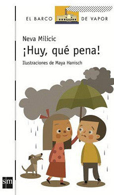 book cover illustrates a man and a woman in a storm holding an umbrella
