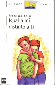 book cover shows two kids hugging