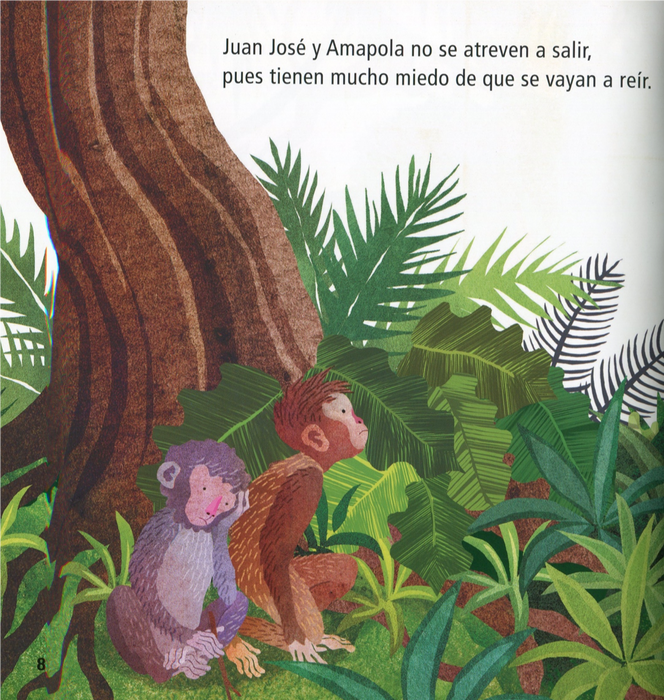 inside page illustrates two monkeys sitting next to a tree