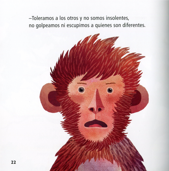 inside page illustrates a surprised monkey