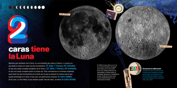 inside pages show different areas of the moon