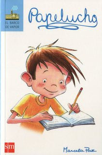 book cover illustrates a boy writing in a book