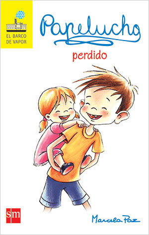 book cover shows papelucho with a girl on his back