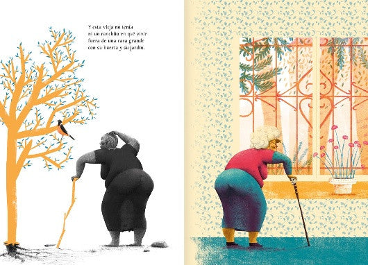 inside page depicting an old lady looking out a window and by a tree