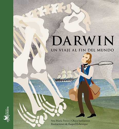 Book cover with illustration of Charles Darwin looking at some big fossils near a sea shore