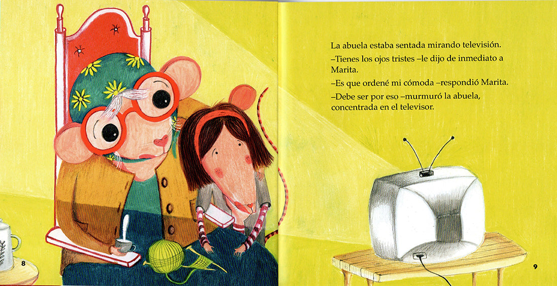 book page illustrates a grandma rat and little girl rat watching a tv