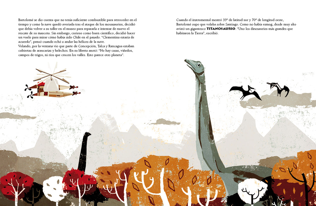 book page illustrates a helicopter with different dinosaurs in the sky and trees