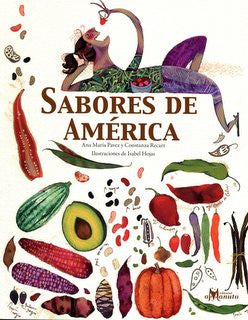book cover illustration depicts a woman eating fruit and the lower part shows dozens of different vegetables and fruits from America
